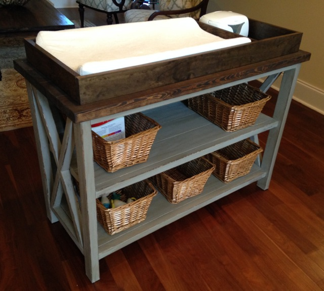Delightful Rustic X Changing Table   Feature