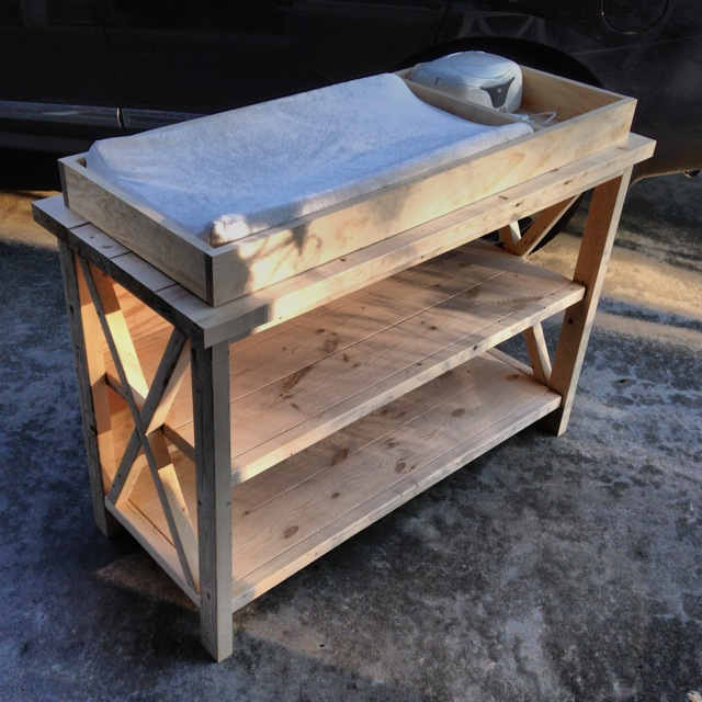 Rustic X Changing Table - Front, Unfinished