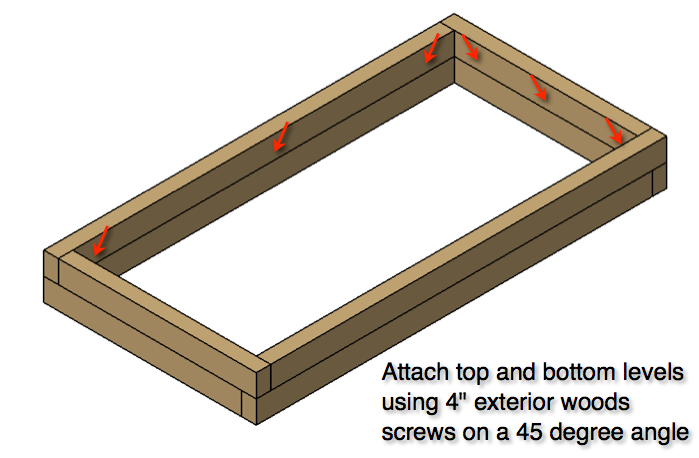 Step 2: Attach top and bottom levels together