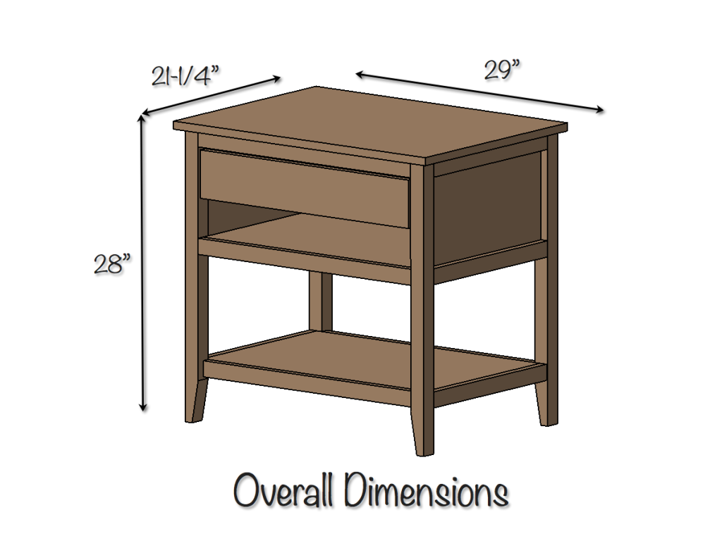 DIY Bedside Table Plans - Dimensions