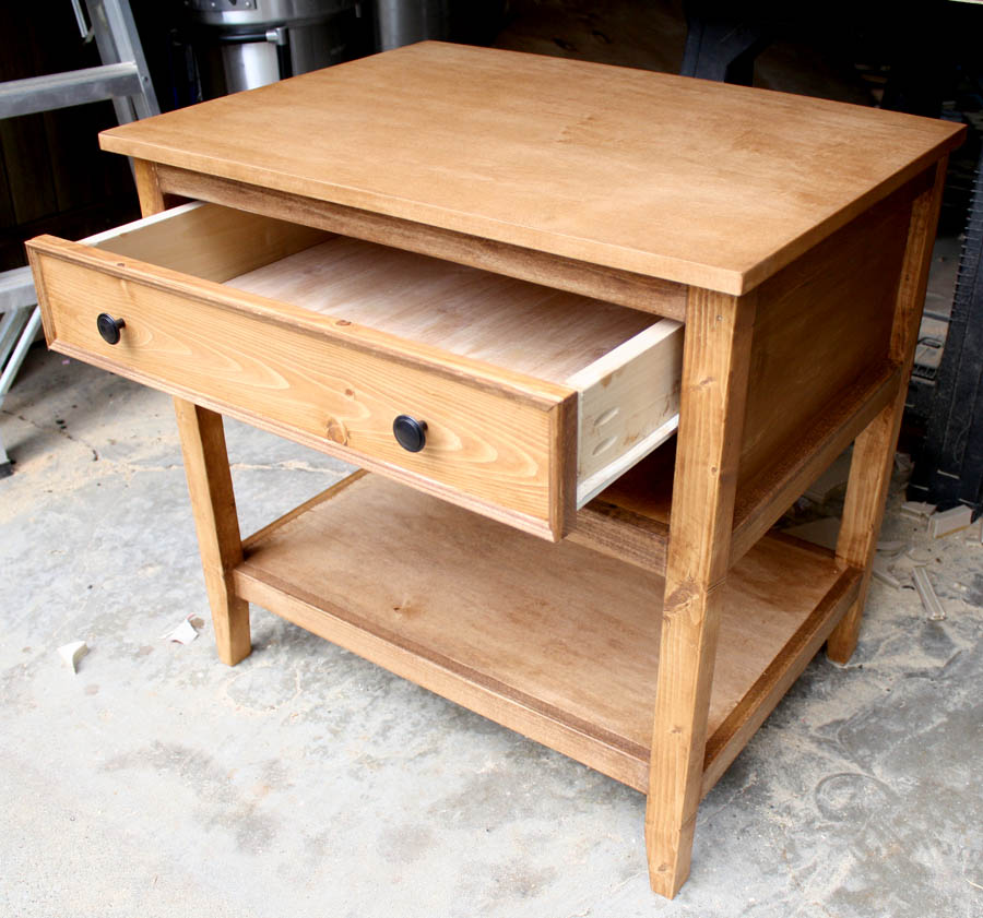 Diy bedside table with drawer and shelf free plans for Free nightstand woodworking plans