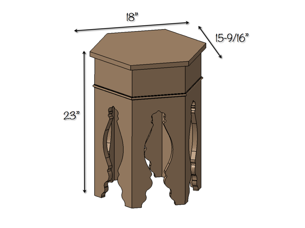 Moroccan Side Table - Dimensions