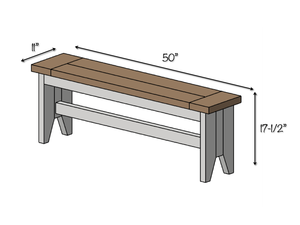 DIY Farmhouse Bench Plans - Overall Dimensions