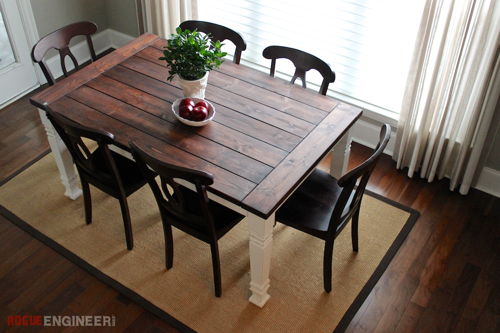 Diy farmhouse table free plans rogue engineer for Farmhouse dining room table