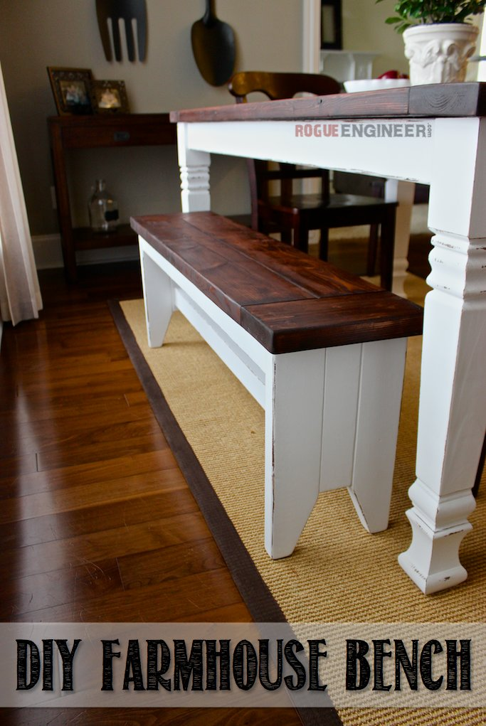 Excellent Diy Farmhouse Bench Free Plans Rogue Engineer Pabps2019 Chair Design Images Pabps2019Com