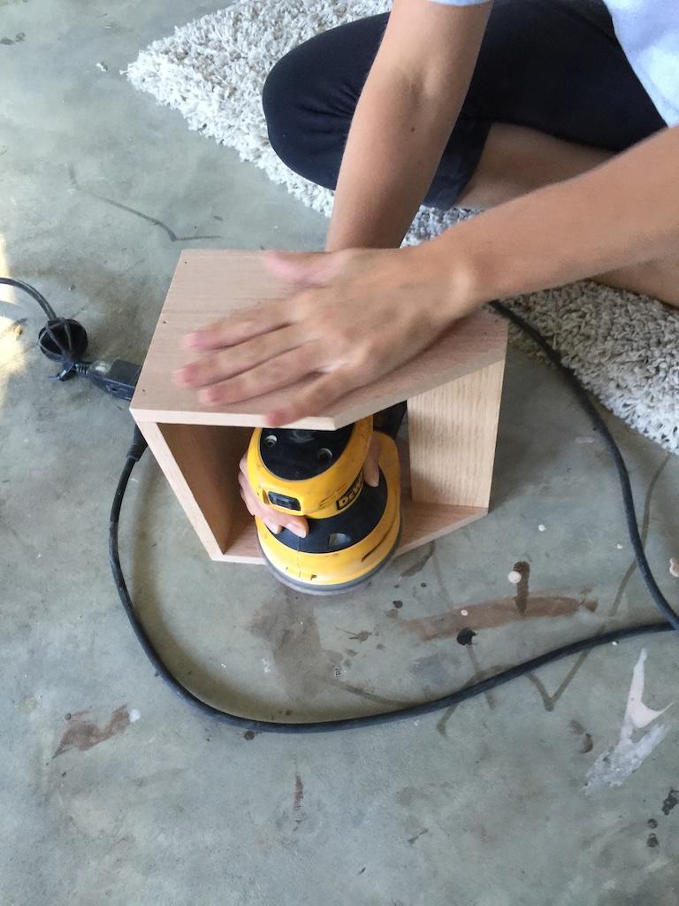DIY Beer Tote - Sanding