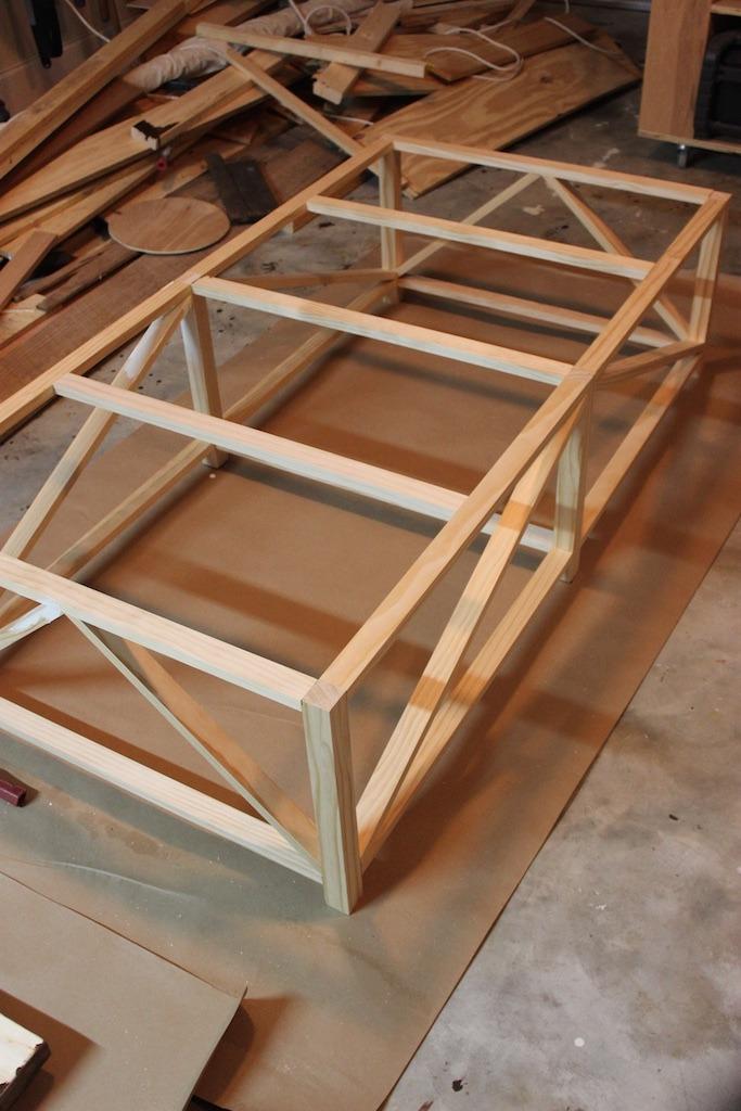 DIY Parquet X-Brace Coffee Table   Step 4