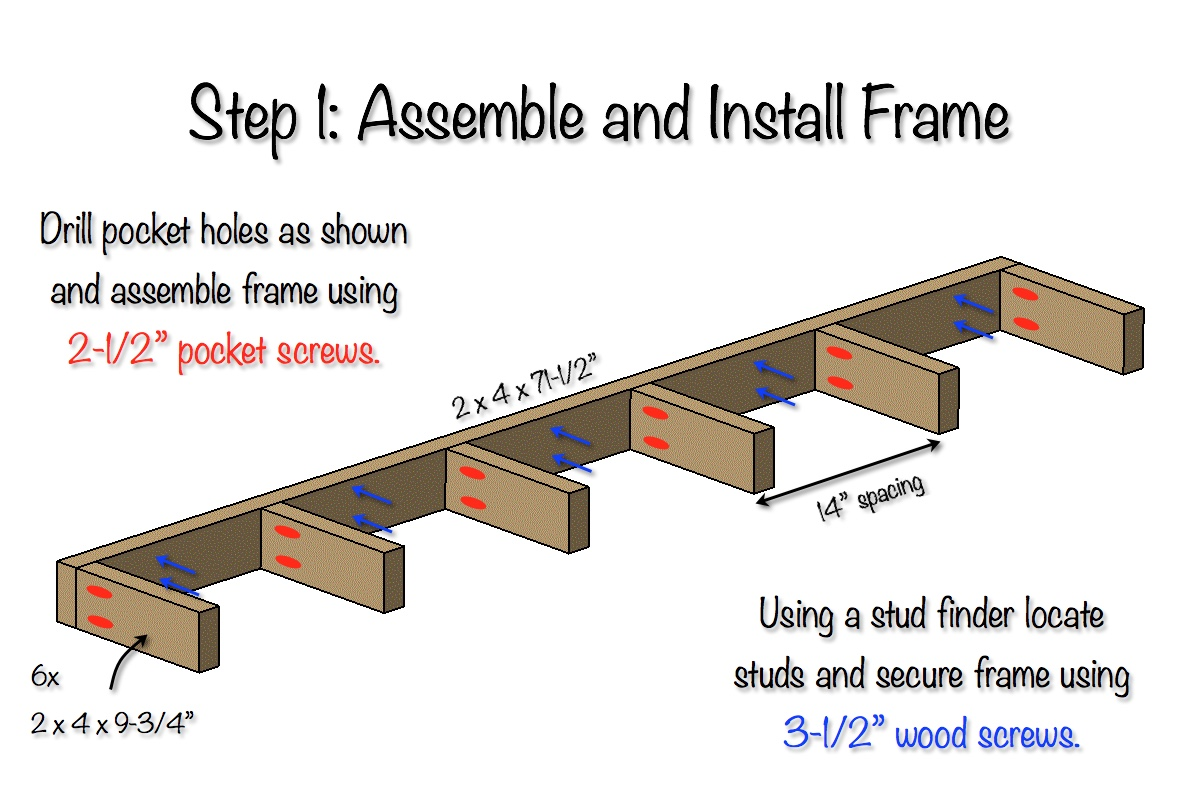 DIY Floating Shelves Free Plans Step 1