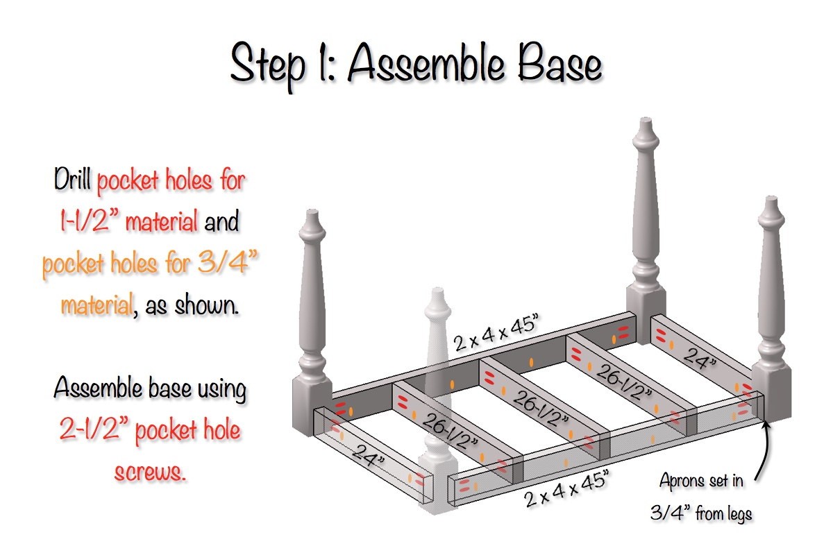 DIY Elegant Farmhouse Table   Step 1