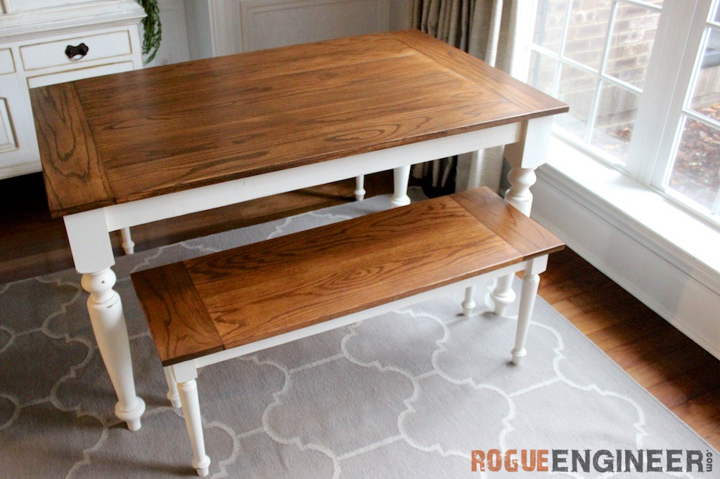 Diy solid oak farmhouse table free easy plans How to build a farmhouse