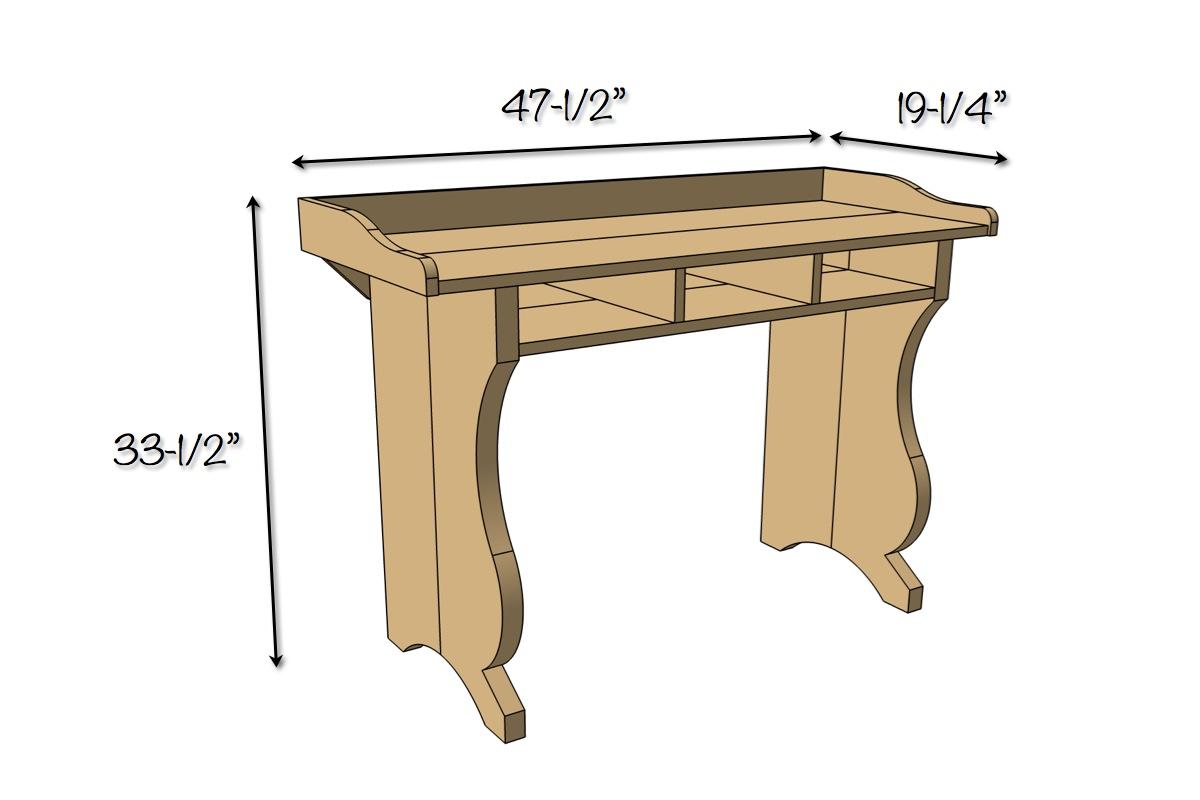 DIY Sicily Desk | Dimensions