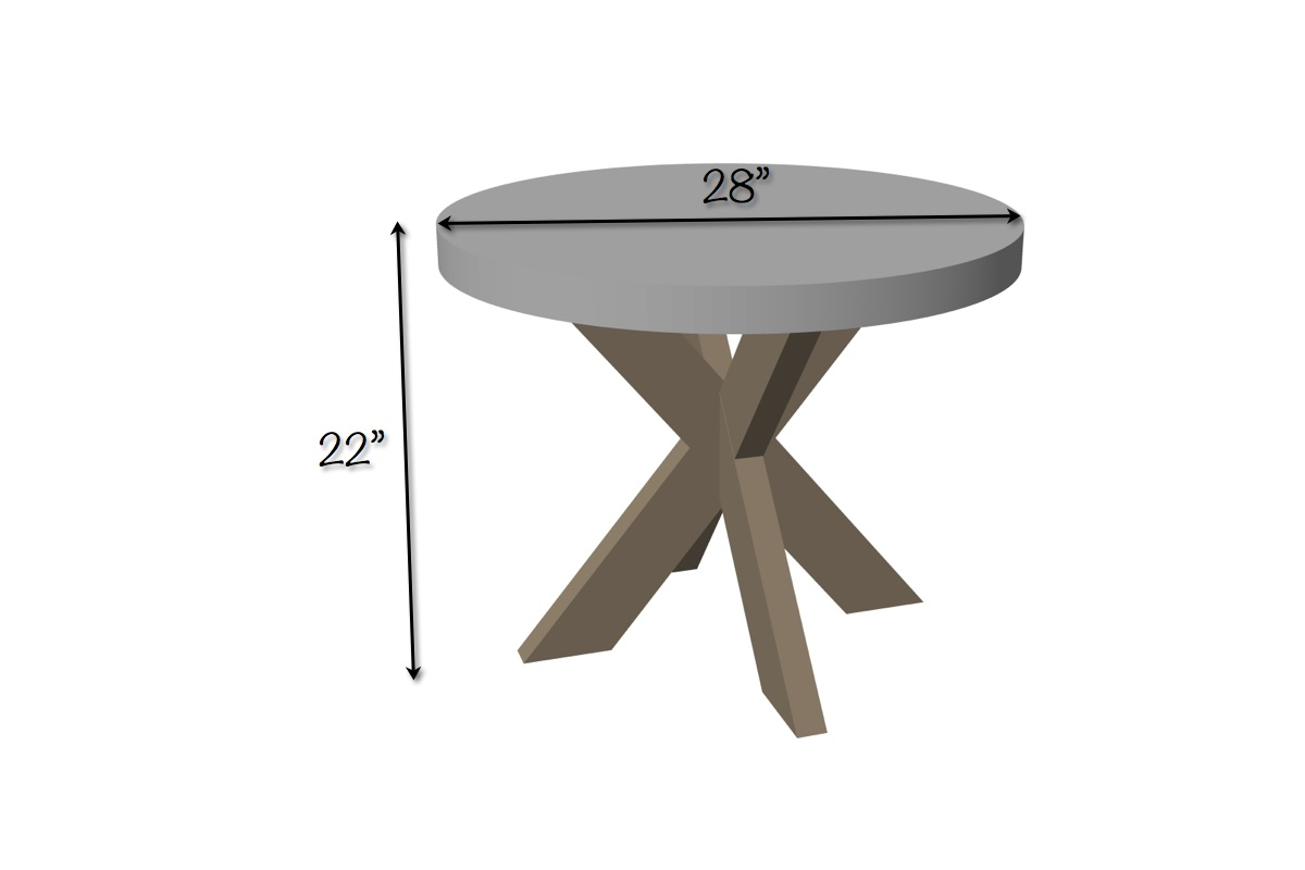 Concrete X-Brace Side Table | Dimensions