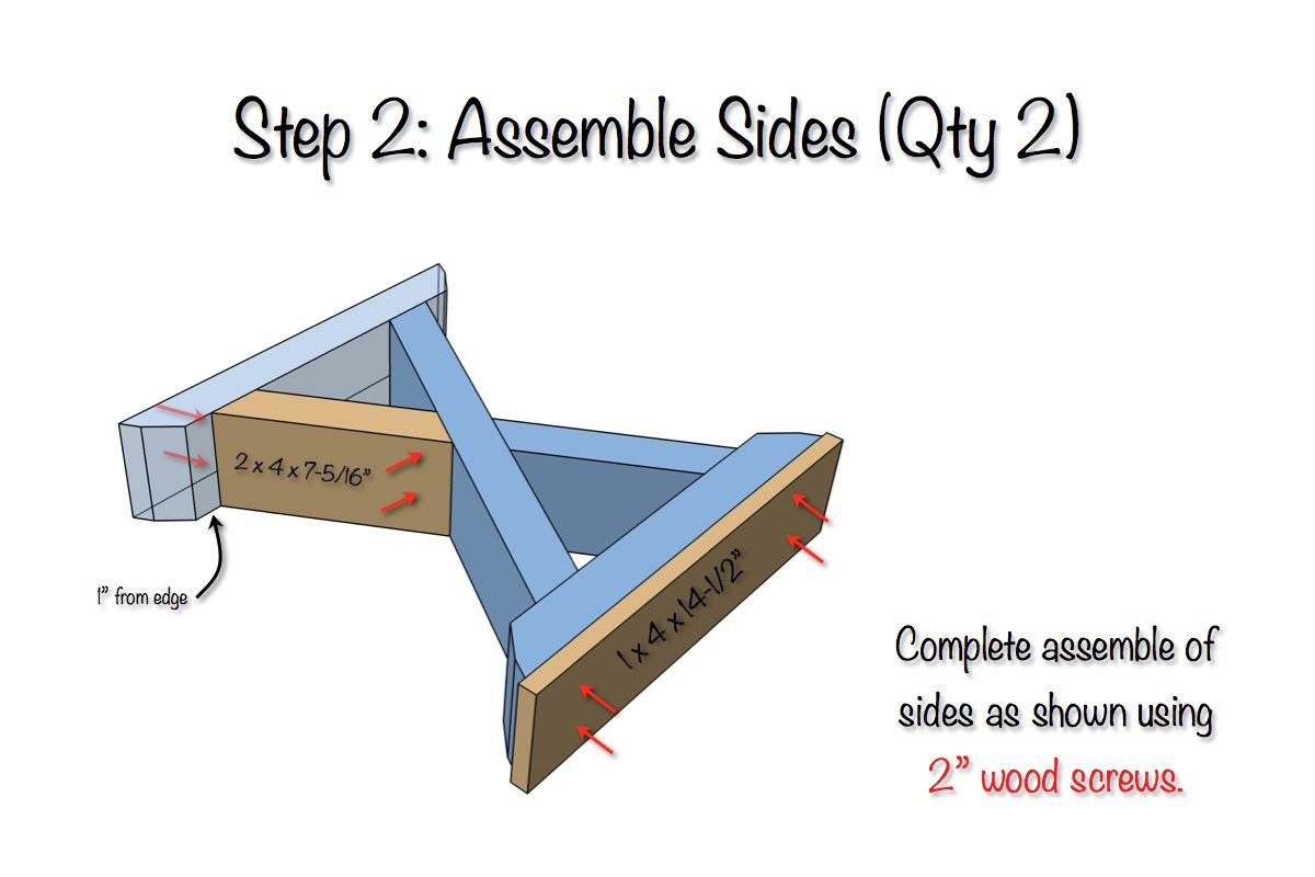 DIY X-Brace Bench Plans - Step 2
