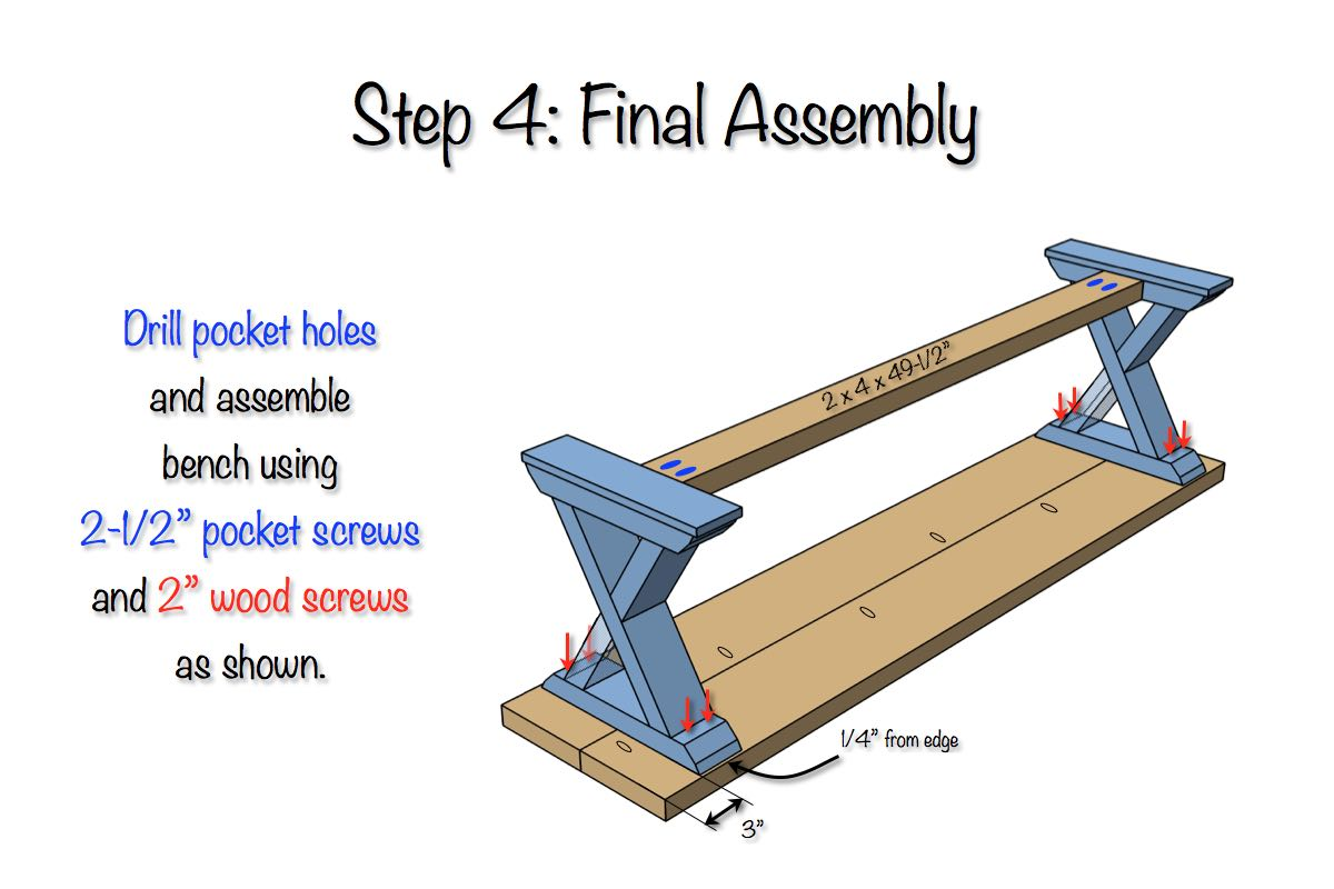 DIY X-Brace Bench Plans - Step 4