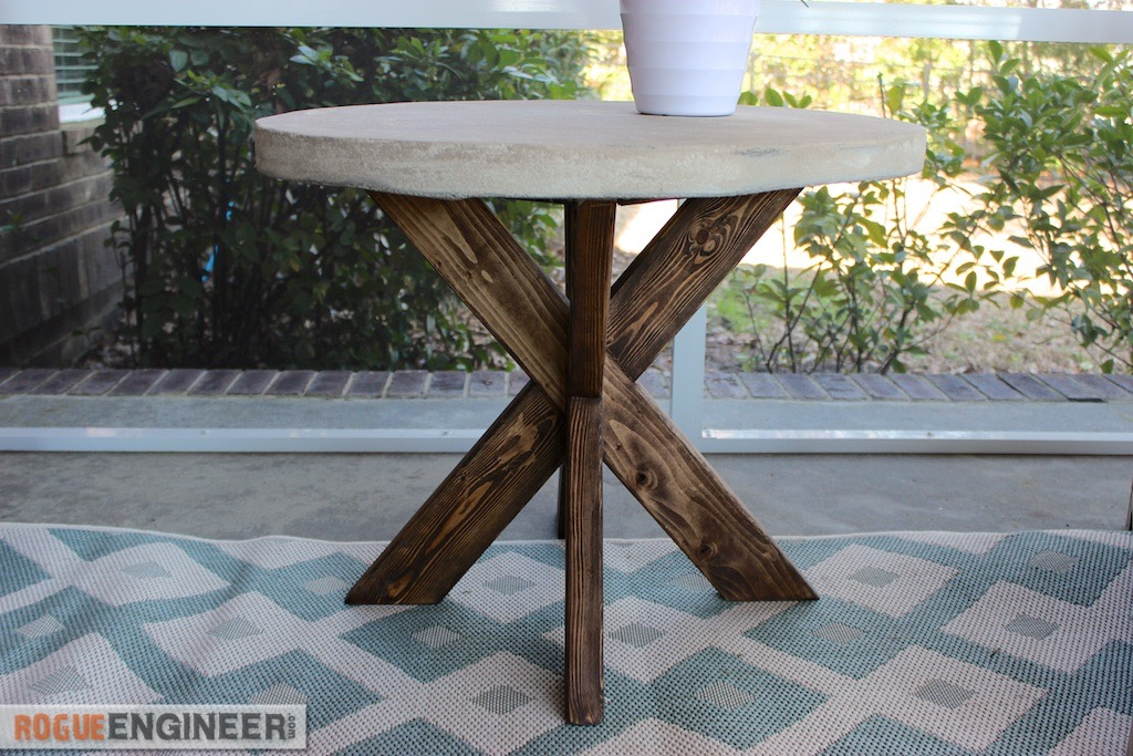 DIY X-Brace Concrete Side Table Plans | Rogue Engineer 3