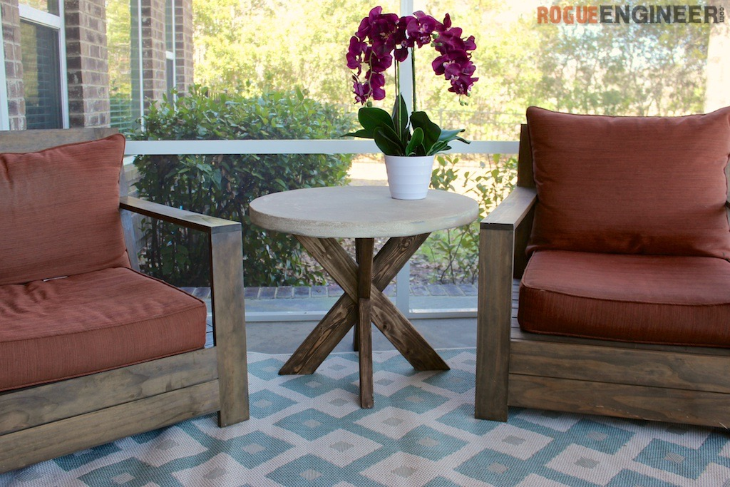 DIY XBrace Side Table W Concrete Top Free Easy Plans - Outdoor cement side table
