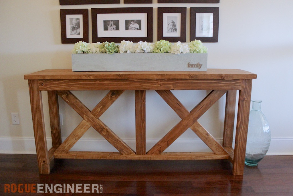 diy x brace console table free plans rogue engineer