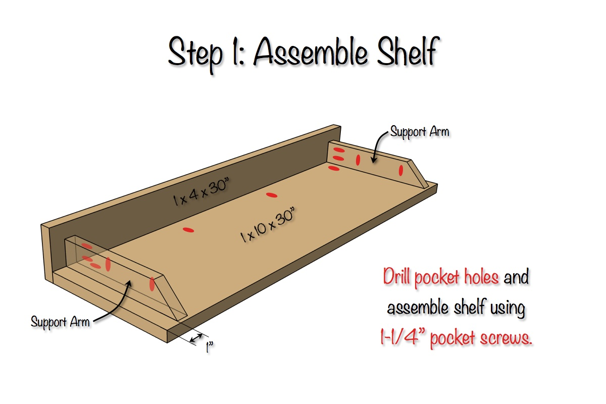 Secret Floating Shelf Free Plans Step 1