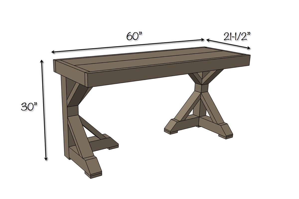 Trestle Desk | Free Plans | Dimensions
