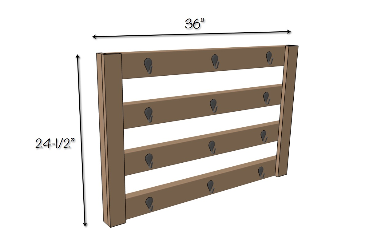 Wall Mount Coffee Mug Hanger Plans | Dimensions