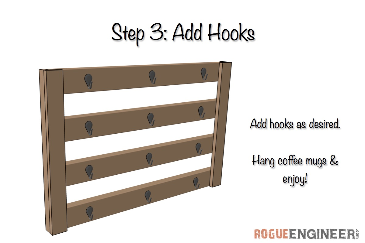 Wall Mount Coffee Mug Hanger Plans | Step 3