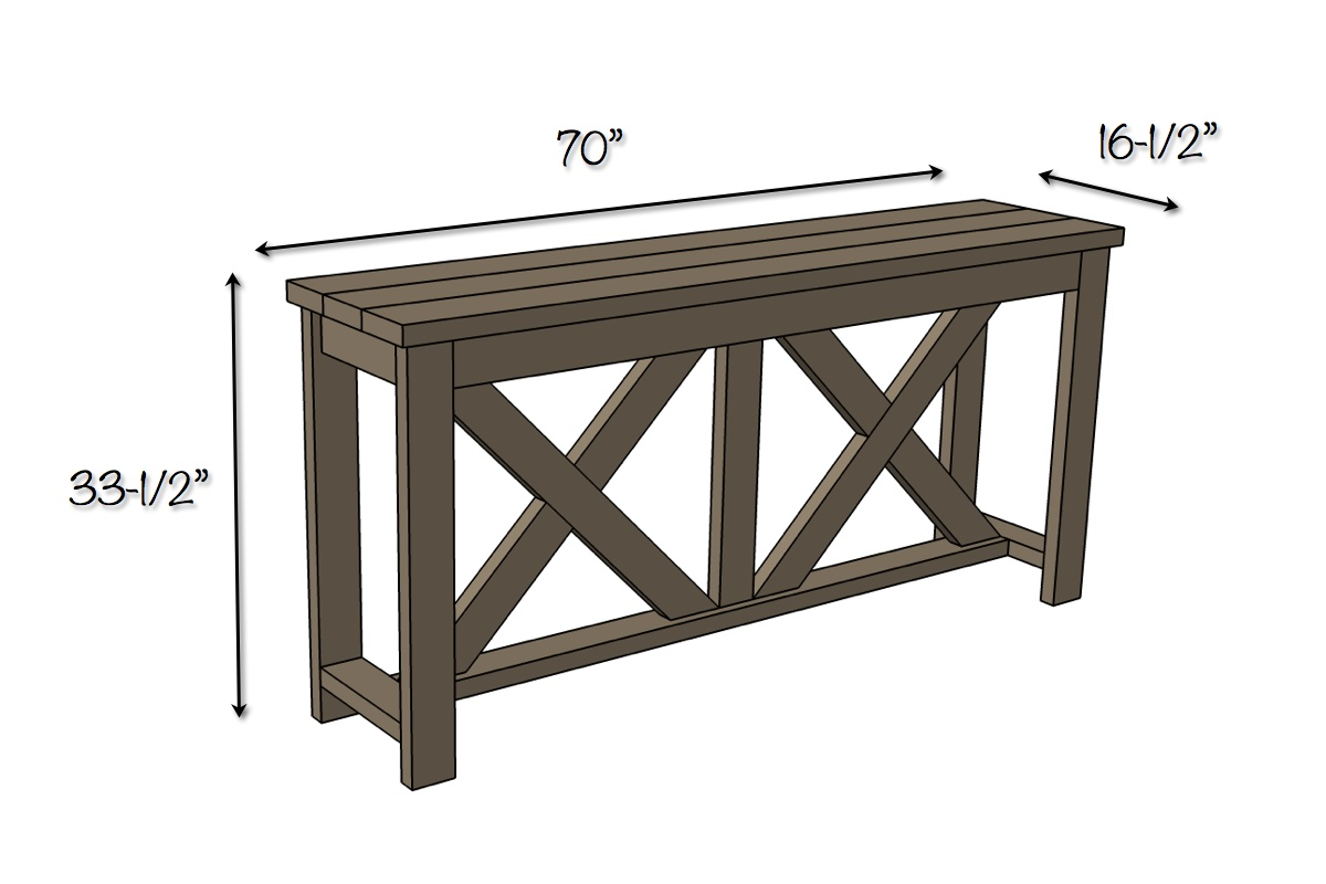 Diy X Brace Console Table Free Plans