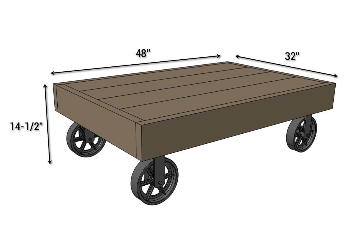 DIY Industrial Cart Coffee Table - Dimensions