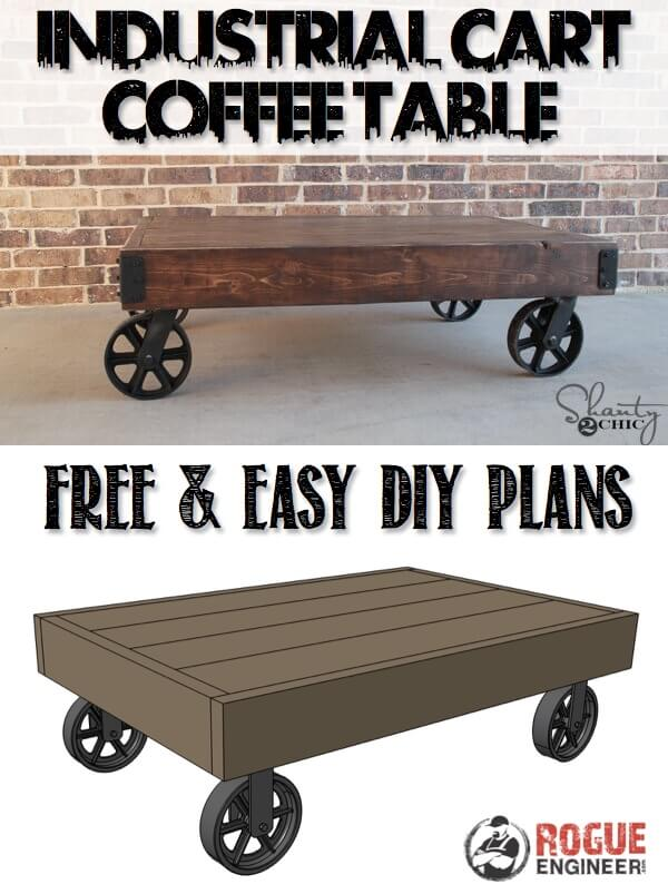 DIY Industrial Cart Coffee Table Plans - Rogue Engineer