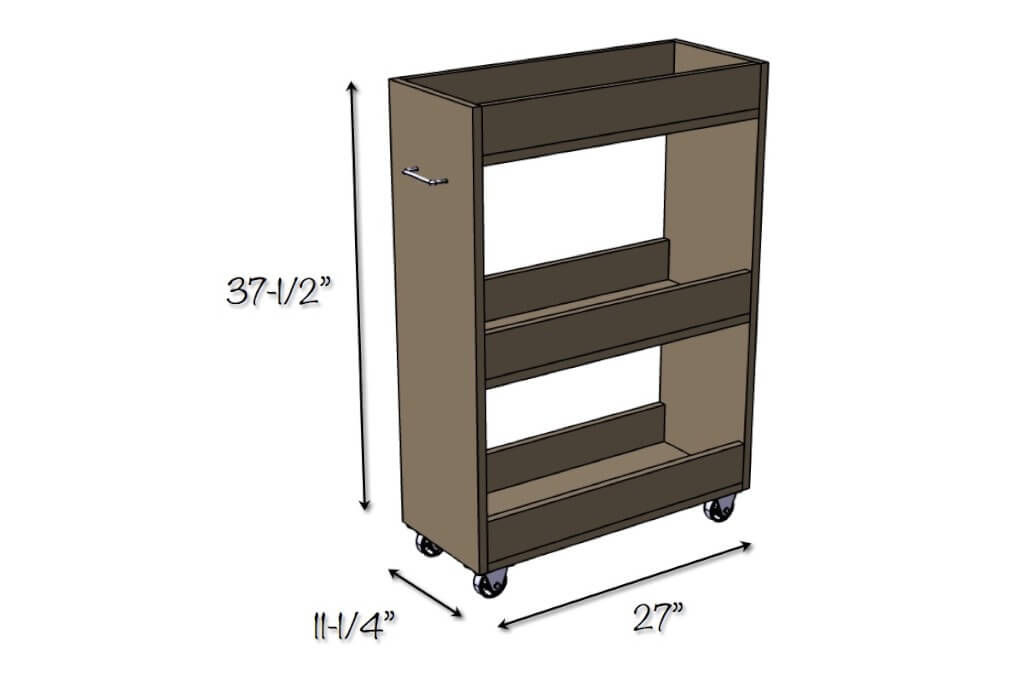 Laundry Room Slim Rolling Storage Cart - Dimensions