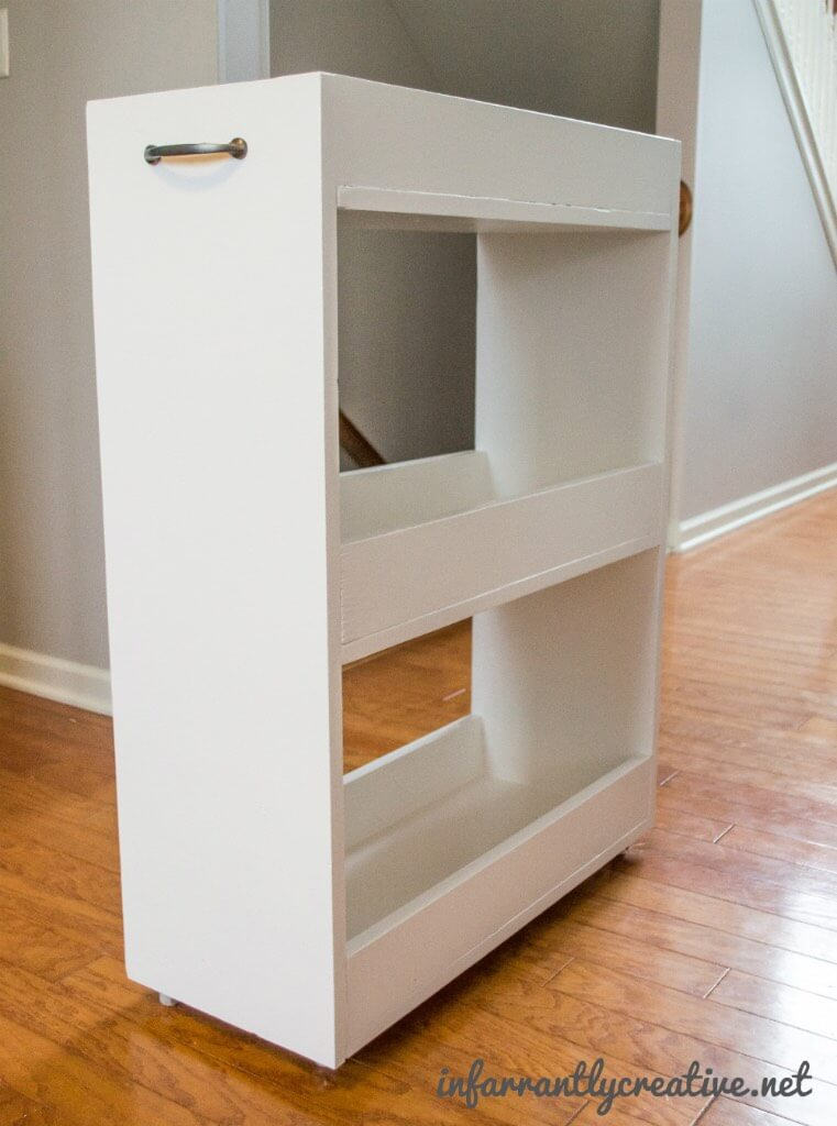 Slim rolling laundry room storage cart free diy plan Laundry room storage