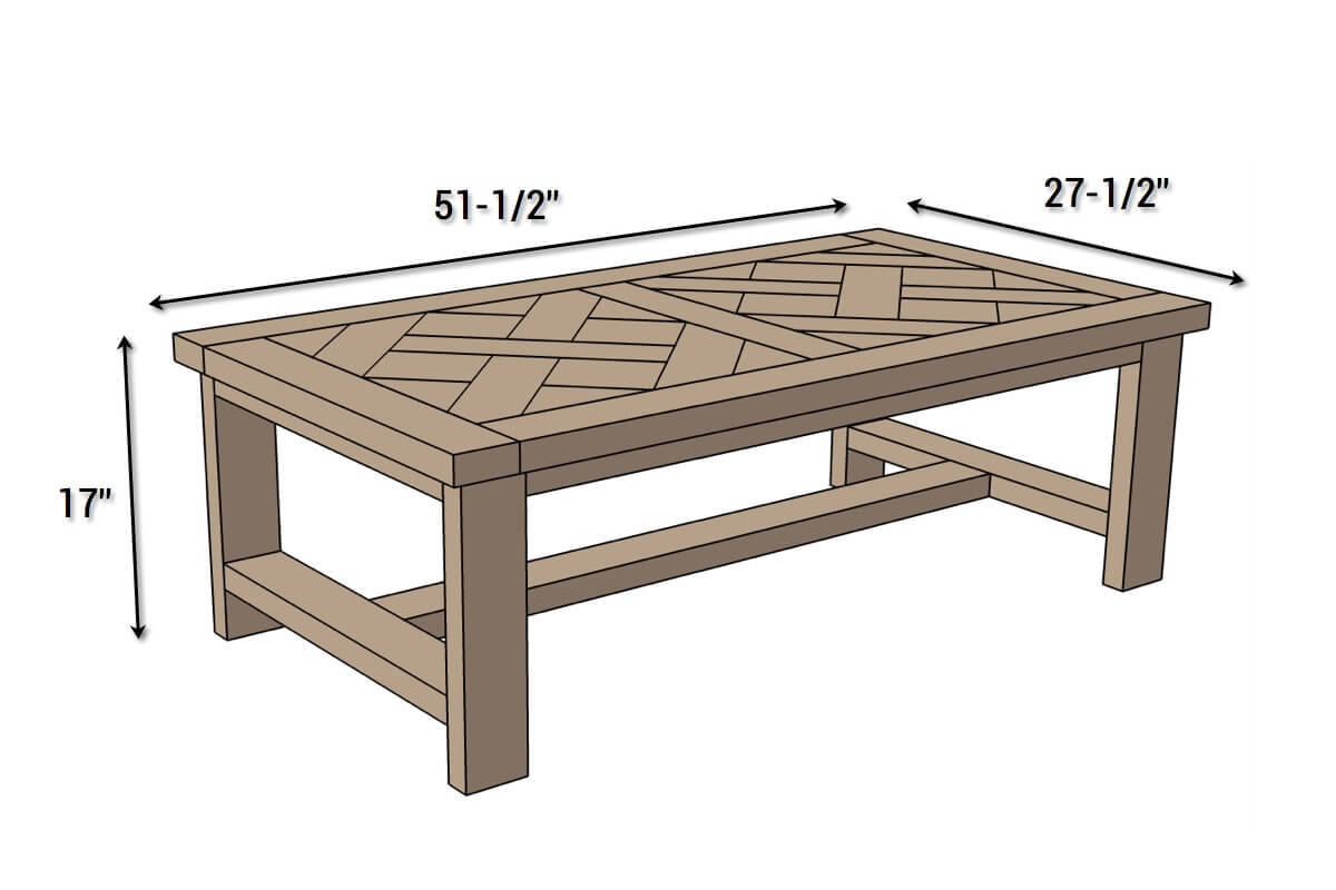 DIY Parquet Coffee Table - Dimensions