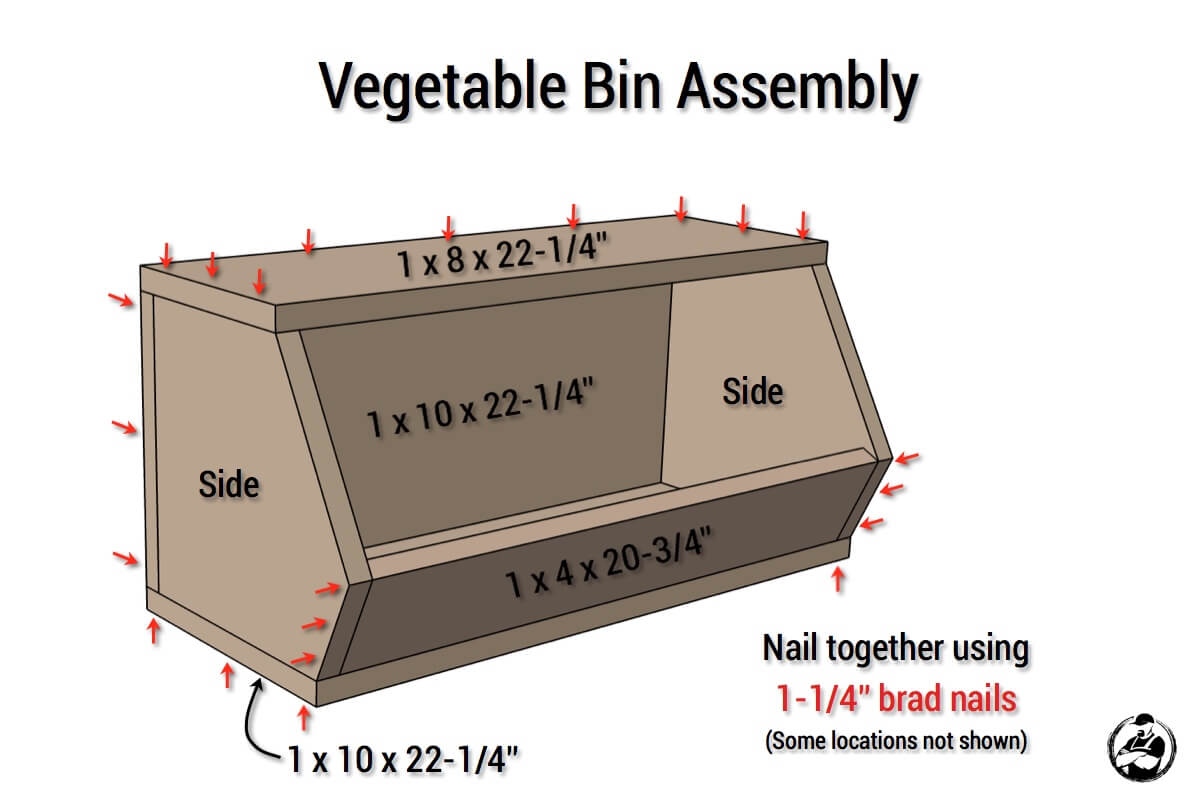 DIY Vegetable Bin Plans - Assembly