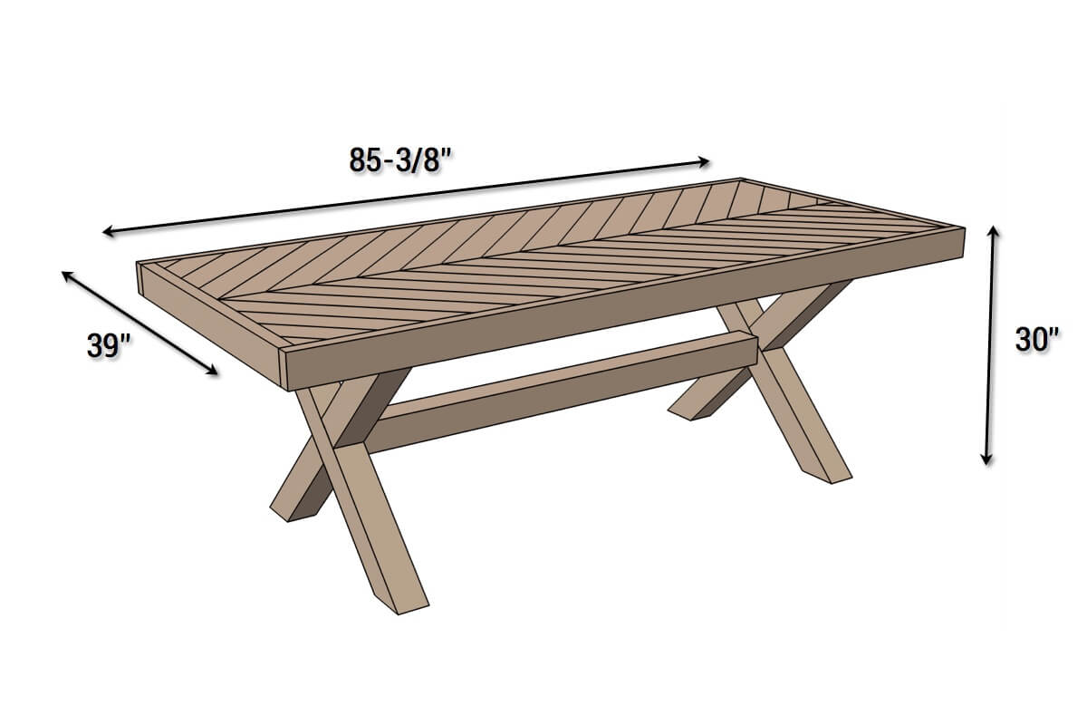 DIY X-Base Herringbone Table Plans - Dimensions