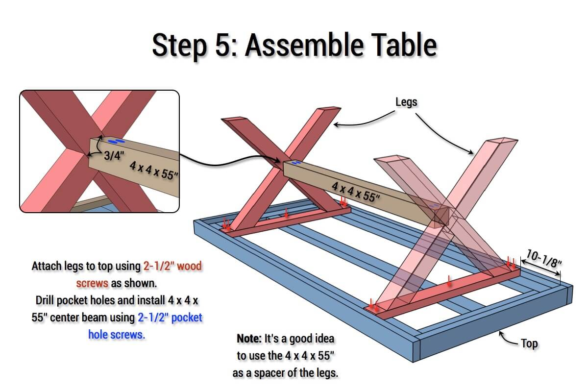 DIY X-Base Herringbone Table Plans - Step 5