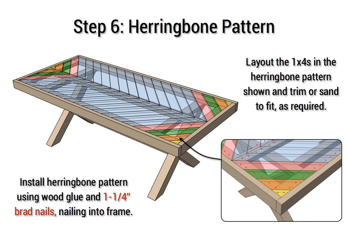 DIY X-Base Herringbone Table Plans - Step 6
