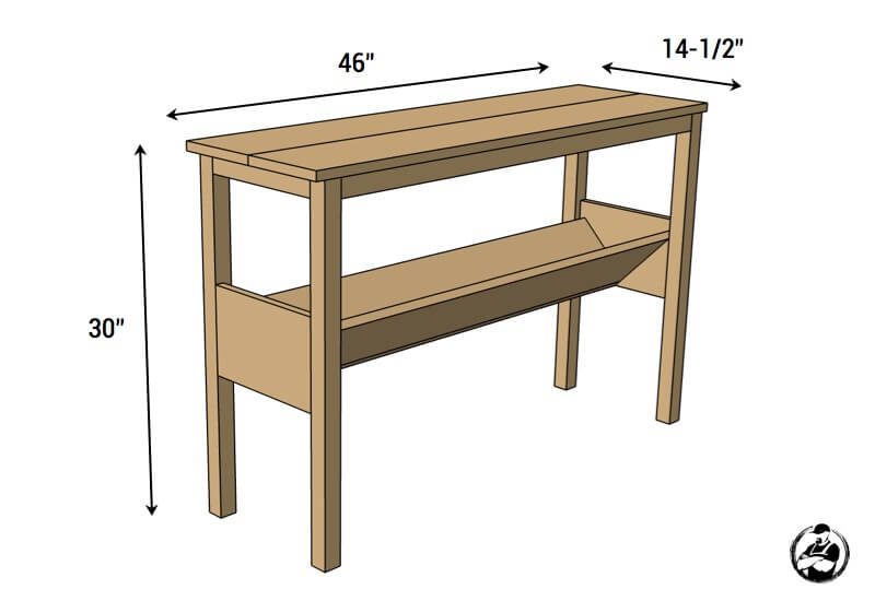 DIY Book Console Table Plans - Dimensions