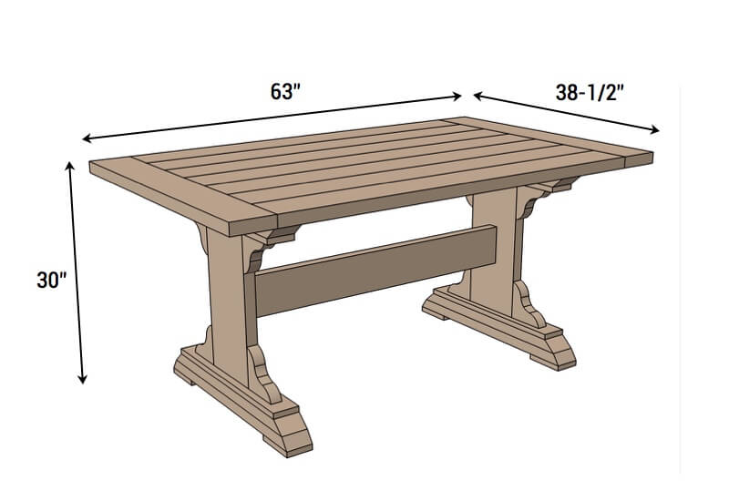 DIY Monastery Dining Table Plans - Dimensions
