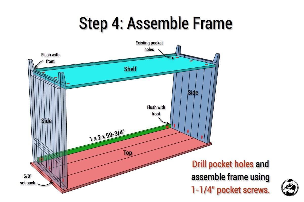 DIY Rustic Media Center Plans - Step 4