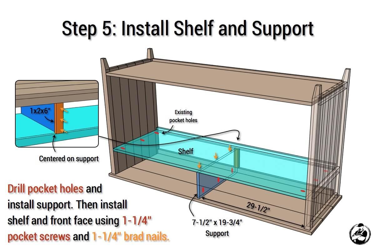 DIY Rustic Media Center Plans - Step 5