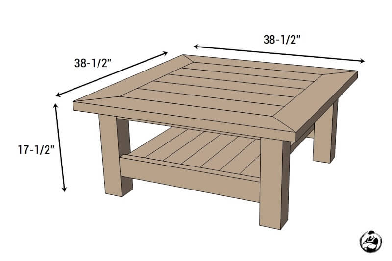 Square Plank Coffee Table - Dimensions