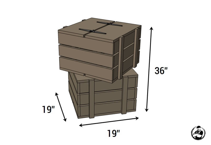 Stacked Crate End Table Plans - Dimensions
