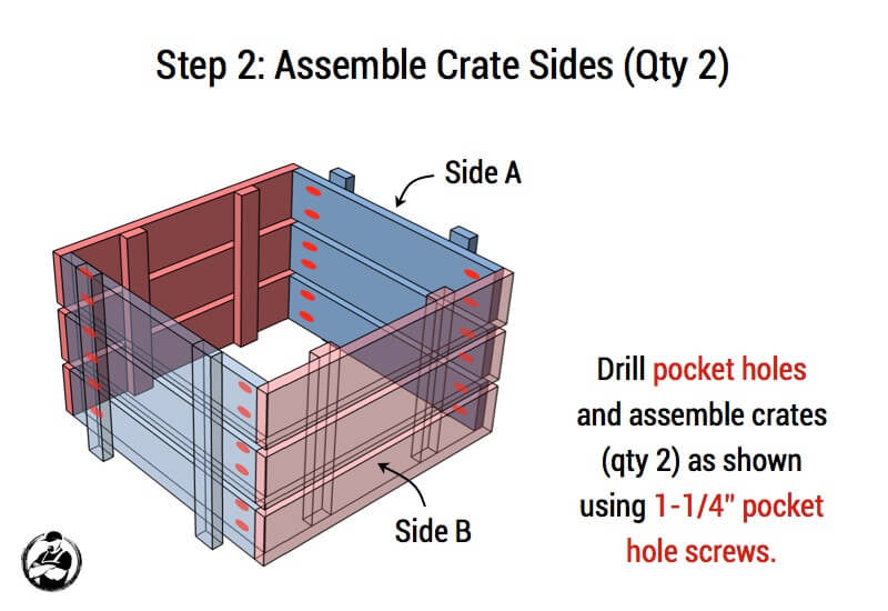 Stacked Crate End Table Plans - Step 2