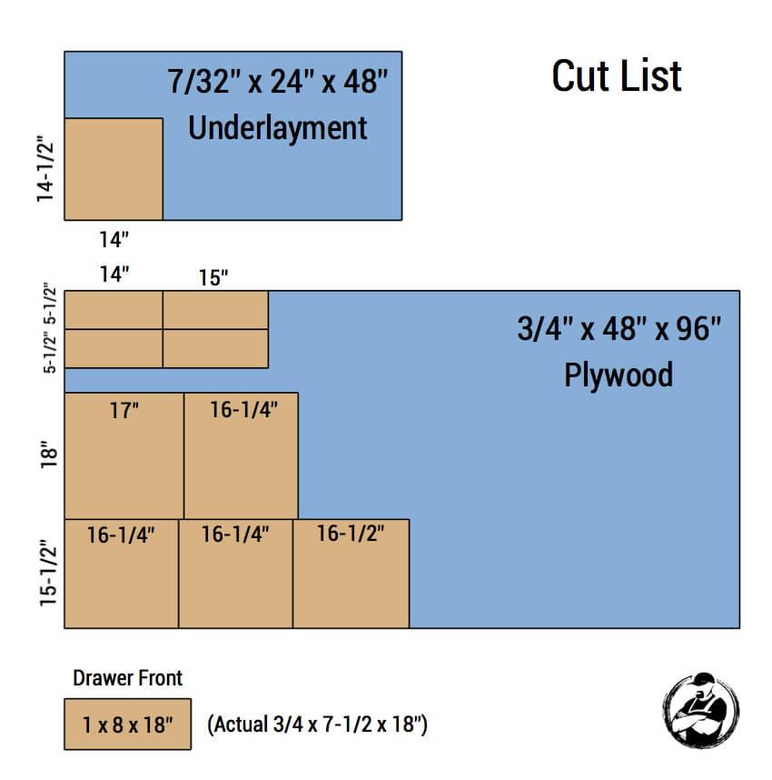 DIY Mid Centry Modern Side Table Plans - Cut List