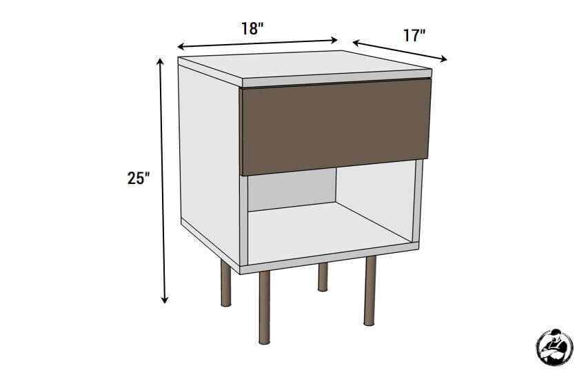 DIY Mid Centry Modern Side Table Plans - Dimensions