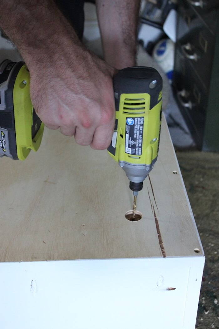 "I drilled a counterbored 1"" hole, 1/2"" deep too help support the legs a bit more."