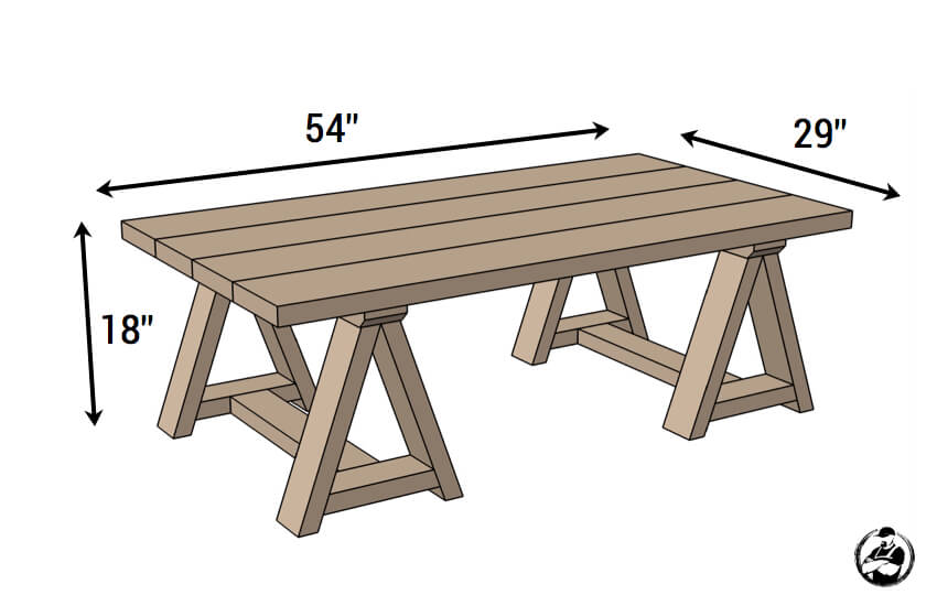 DIY Sawhorse Coffee Table Plans - Dimensions