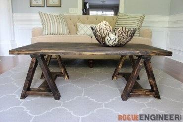 DIY Sawhorse Coffee Table Plans - Rogue Engineer