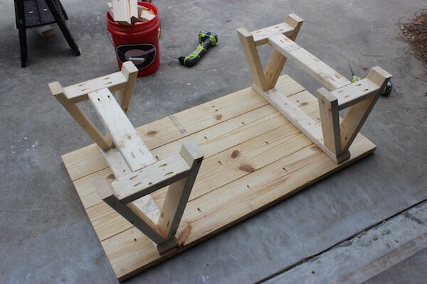 DIY Sawhorse Coffee Table Plans - Step 8