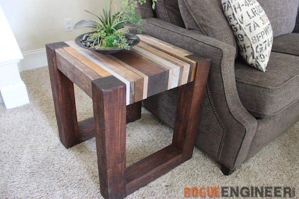 Scrap wood side table free diy tutorial rogue engineer for Diy coffee and end tables