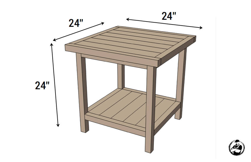 DIY Simple Square Bedside Table Plans - Dimension